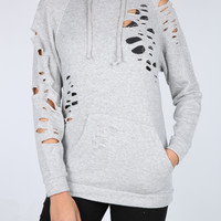 The Nicole Destroyed Hoodie in Heather Grey