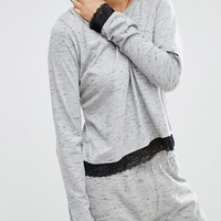 ASOS Lace Trim Long Sleeve & Legging Pyjama Set at asos.com