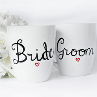 Bride and Groom Mugs- Engagement Gifts- Wedding Gifts- Unique Gifts For Couples-  Couples Mugs- Handpainted Mugs-  Bride and Groom Mugs