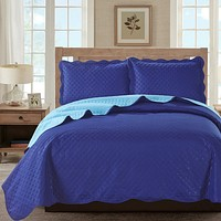 Sherry - 3 Piece - Solid Reversible Quilt Set -