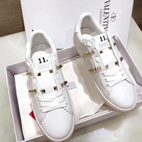 Valentino new women's rivet flat low low white shoes