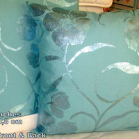 """Hand Painted Deluxe Floral aqua green 20""""X20"""" Pillow Cover"""