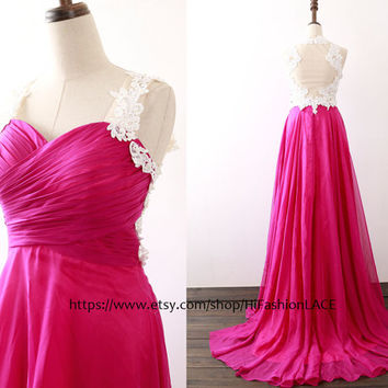 Fuchsia Prom Dress, Lace Straps Chiffon Prom Gown, Lace Chiffon Fuchsia Formal Gown, Wedding Bridesmaid Dress