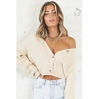 Kiss Me Or Miss Me Cream Button Up Cardigan