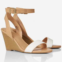 STACKED LOW WEDGE SLIDE SANDAL from EXPRESS