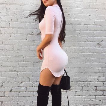Tight Solid Color V-Neck Dress