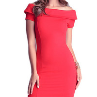 Red Off-Shoulder Bodycon Dress