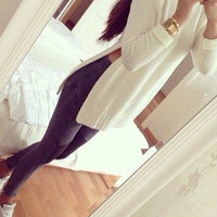 White Long Sleeve Slit Knitted Sweater