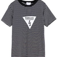 Warning Sign Print Black Striped Short Sleeve T-Shirt