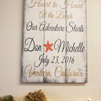 Destination Wedding Sign Beach Wedding Sign Wedding Gift Bridal Shower Gift Pallet Sign Wood Sign Hand In Hand Heart To Heart Shabby Chic