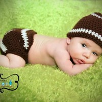 Baby Football Hat And Diaper Cover Photo Prop Sizes Between Newborn...... | ConniesCrochet - Children's on ArtFire