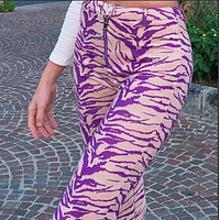 Women's new style personality striped printed zipper high waist straight trousers