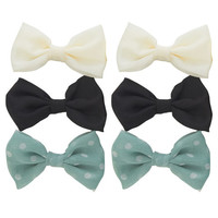 Dotted Chiffon Clip Bow 6-Pack | Wet Seal