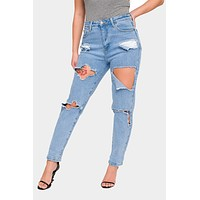 Destroyed Cropped High Rise Boyfriend Jeans