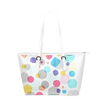 White Tote Shoulder Bag with Abstract Circular Pastel Design