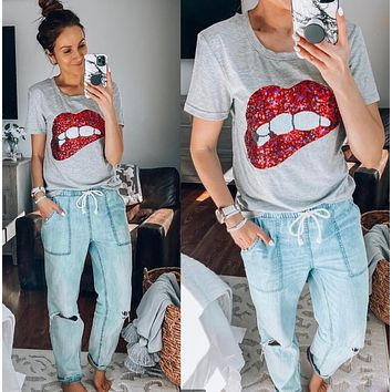 Sequin Mouth Fashion Shirt Top Tee