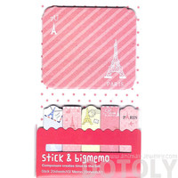 Large Eiffel Tower Print Travel Themed Memo Pad Post-it Index Sticky Bookmark Tabs in Pink | Cute Affordable Stationery