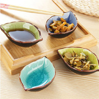 4Pcs Ice crack glazed ceramic saucer leaves multi-purpose kitchen seasoning vinegar sauce dish restaurant Caidie Tableware plate
