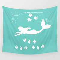 Mint and White Mermaid Silhouette Art Wall Tapestry by Artist Abigail