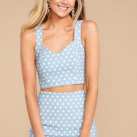 Give Me More Light Blue Polka Dot Two Piece Set