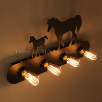 American Country Rural Style Retro Wrought Iron Horse Wall Lamp