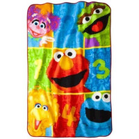 "Sesame Street Super Plush Twin Size Blanket; 62"" x 90"""