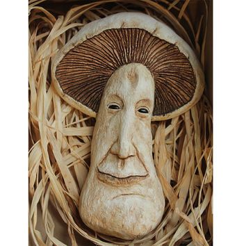 Fermin the Brave - Field Mushroom,Fantasy Sculpture Wall Art, Quirky handmade  Art piece,Collectable,Decorative Character