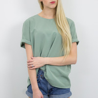 Vintage Minimalist Green Short Sleeve Blouse