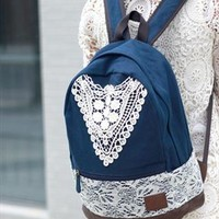 Fashion Blue Lace Backpack with Crochet from styleonline