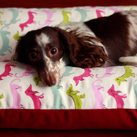 Pink Blue Mod Dogs Dachshunds Hotdogs - Bunbed Dog bed for Dachshunds, Small Dog Bed, Dachshund Bed, Burrow Bed