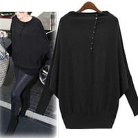 New Women Long Sleeve Casual Oversized Batwing Knit Sweater Jumper Pullover Tops(Black,Grey,GreenSize S-XXL) = 1946656004