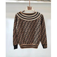 "Hot Sale ""FENDI"" Trending Women Stylish Off Shoulder Round Collar Double F Letter Print Long Sleeve Knit Sweater Pullover Top Coffee I12820-1"