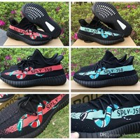 Adidas Yeezy 350 Boost V2 Gucci Brand Black Red Green Snake Custom Men Women Running S
