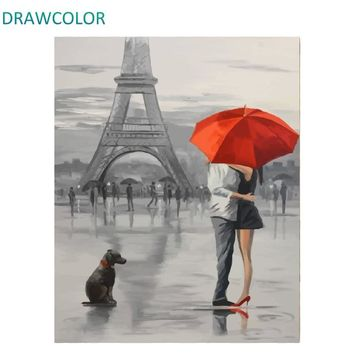 DRAWCOLOR Frame Paris Lovers DIY Painting By Numbers Acrylic Paint On Canvas Modern Wall Art Painting Calligraphy 40x50cm Gift
