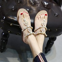 Shinning Riheston Flat Slip On Summer Slipper Sandals