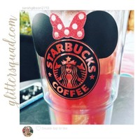 Black & Red Starbucks * Minnie Mouse * Latte  or coffee 24 oz Tumbler Personalized Glitter