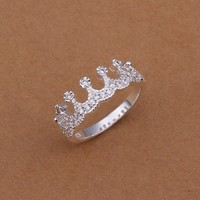 Hot Style Noble Jewelry 925 Silver Plated Fashion Women Ring Imperial Crown Zircon Size 8