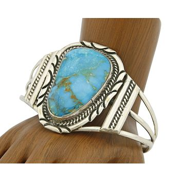 """C. 1980 Navajo Signed """"C"""" .925 Silver Turquoise Mtn Cuff Bracelet"""
