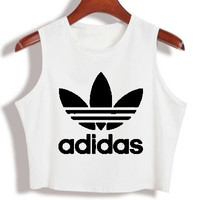 """Adidas"" Fashion Sexy Letter Print Round Neck Sleeveless Vest Crop Top T-shirt"