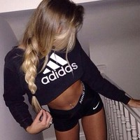"""Adidas"" Fashion Short Shirt Crop Long Sleeve Top Sweater Pullover"