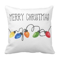 Christmas Lights - Winter Watercolor Pillow