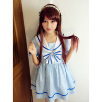 Harajuku Sweet Stripped Big Bow Sailor Suit Dress