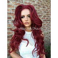CRIMSON Burgandy Red Body Curls Multi Parting  Blended Human Hair Lace Front Wig 24'