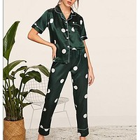 Print Satin Pajamas Women Clothes Short Sleeve Long Pants Sleepwear Casual Pocket Ladies Pajama Set
