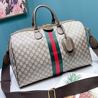GUCCI Fashion Women Men Classic Stripe Luggage Travel Bags Tote Handbag Satchel Crossbody