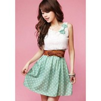 Light Green Polka Dot Bowknot Dress