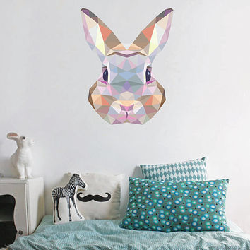 kcik91 Full Color Wall decal Bunny geometric abstract living room children's bedroom