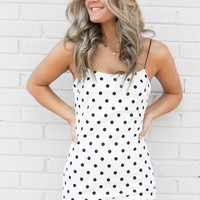 About Last Night White & Black Polka Dot Dress