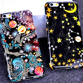 "Ultra Thin Planet Moon Star Cute Phone Cases For iPhone 6 6s 6plus 5.5 4.7 Inch Hard Back Cover Personality Case "" FREE SHIPPING """