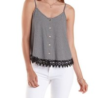 Black Combo Strappy Striped Button-Up Tank Top by Charlotte Russe